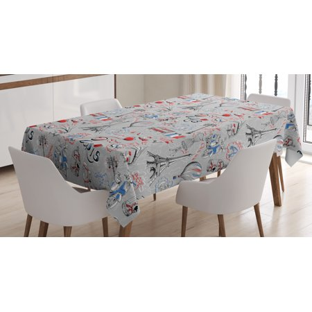 Paris Tablecloth, France Themed Image with French Flag Dogs Eiffel Tower Croissant Vintage City of Love, Rectangular Table Cover for Dining Room Kitchen, 60 X 84 Inches, Multicolor, by - Paris Themed Tablecloth