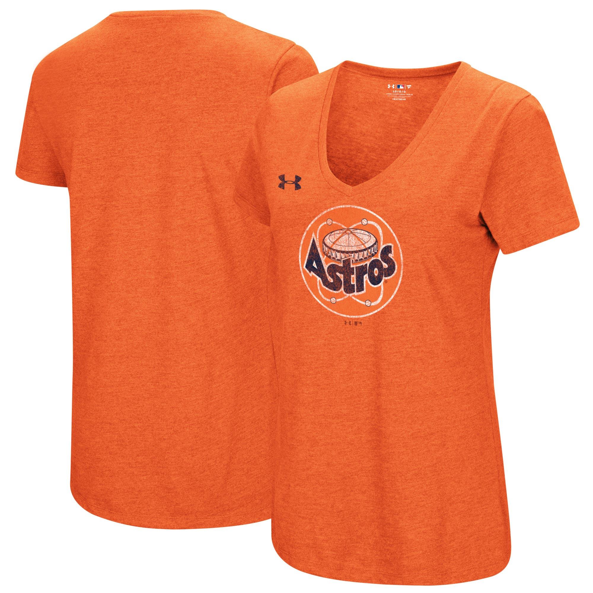 Houston Astros Under Armour Women's Cooperstown Collection Logo Performance Tri-Blend V-Neck T-Shirt - Heathered Orange