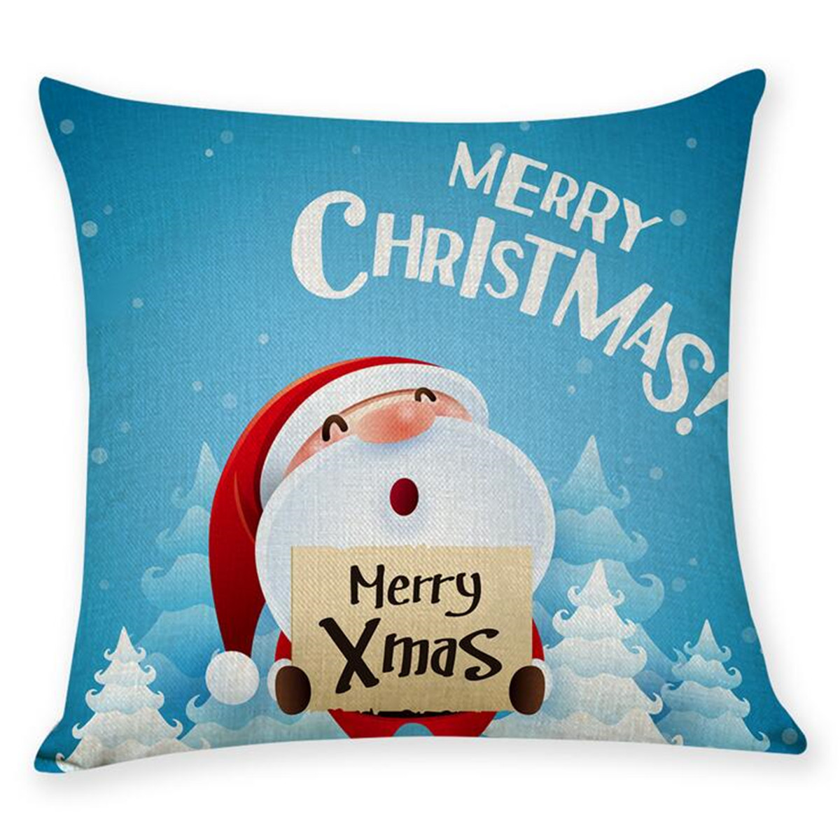 Christmas Pillow Covers Decorations 18x18 Blue Snowflake Printing Throw Pillowcase Solid Square Back Cushion Case for Couch Sofa Pad Set Indoor Outdoor Home Decor