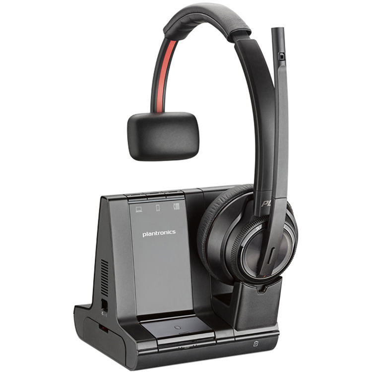Savi W8210 Wireless Bluetooth/DECT 6.0 32mm Mono Headset - Over-the-head - Supra-aural - Black
