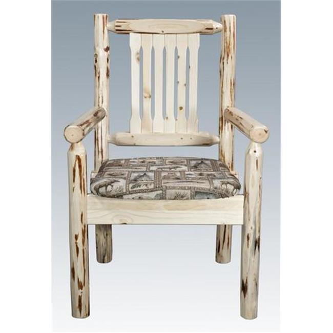Montana Woodworks MWCASCNWILD Montana Collection Captains Chair Ready to Finish Upholstered Seat Wildlife