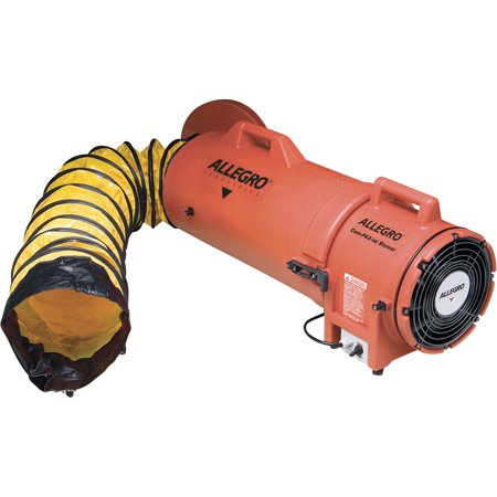 "Image of Allegro Industries 8"" Plastic COM-PAX-IAL Blower With Canister and 25' Ducting"