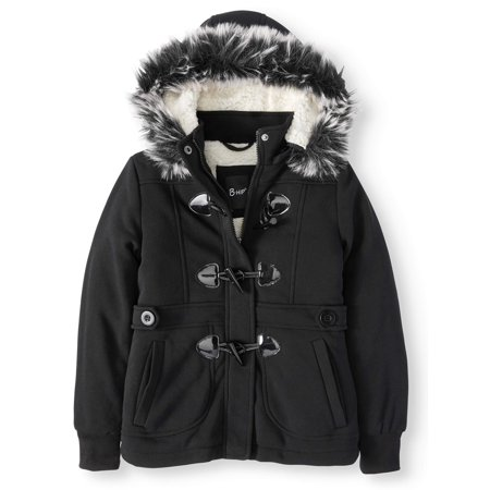 Fur Trimmed Toggle - Sherpa Lined Fleece Toggle Jacket with Removable Fur Trim Hood (Big Girls)