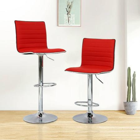Kinbor Set Of 2 Modern Adjule Swivel Bar Stool Leather Barstools Hydraulic Lift Dinning Chair Red