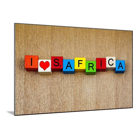 I Love South Africa Sign Series For Countries And Travel Wood Mounted Print Wall Art By Edsamuel