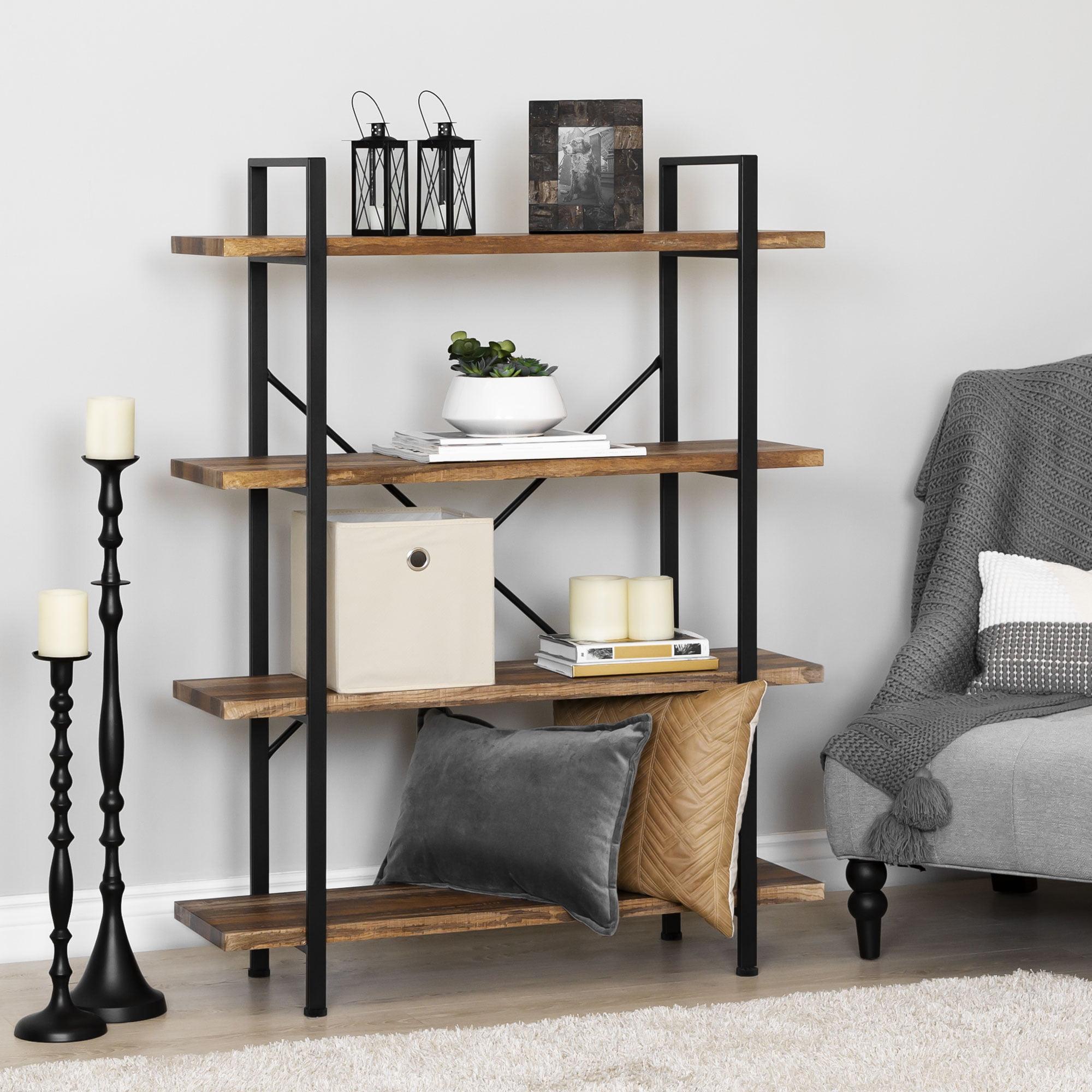 Best Choice Products 4-Shelf Industrial Open Bookshelf Organizer Furniture  for Living Room, Office w/ Wood Shelves, Metal Frame - Brown/Black