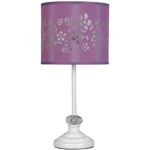 your zone white pole lamp with purple cut-out shade