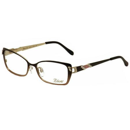 Diva Eyeglasses 5444 879 Brown/Rose Fade/Gold Full Rim Optical Frame ...