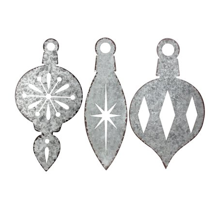 Set of 3 Weathered Galvanized Finial Ornament Christmas Wall Decorations 16""