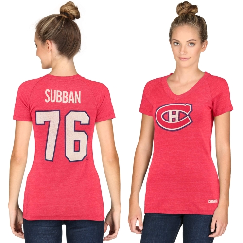 Women's CCM P.K. Subban Montreal Canadiens Name & Number Tri-Blend V-Neck T-Shirt - Red
