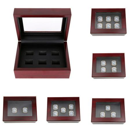 Championship Big Heavy Ring Display Box Luxury Wooden Jewelry Box 6/5/4/3/2 Holes (Jewelry Box Wooden Box)