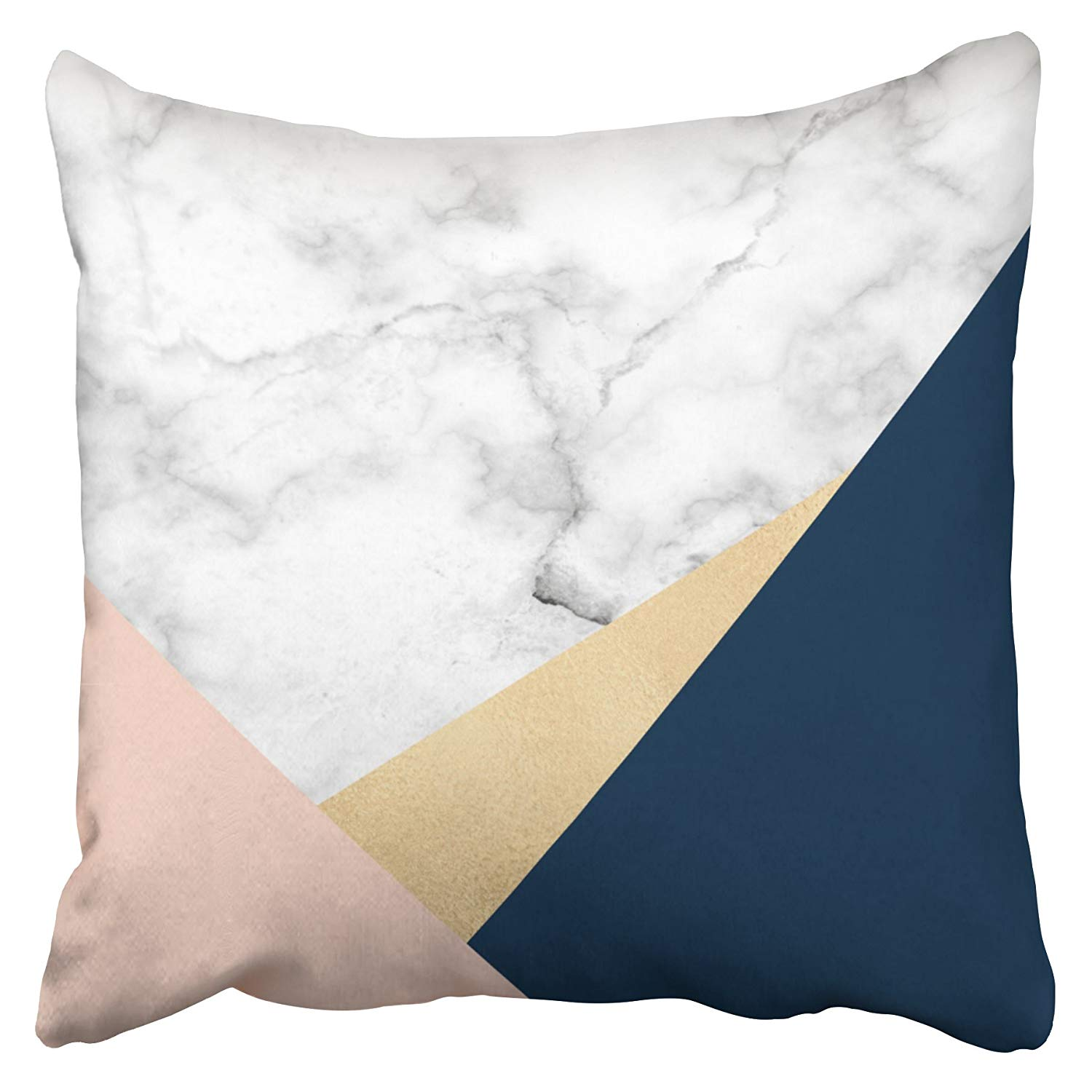 WOPOP Elegant White Marble Gold Peach Blue Color Block Pillowcase Cushion Cover 16x16 inch