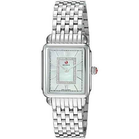 Michele Women's Deco II Mid Silver Diamond 26mm Watch MWW06I000026 ()