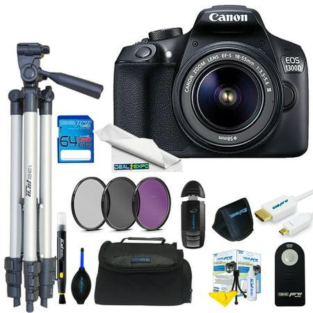Canon EOS Rebel 1300D/T6 18MP DSLR Camera + 18-55mm Lens + 64GB Expo Basic  Kit
