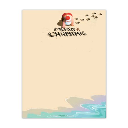 Christmas Beach Stationery - 60 Paper Sheets Per Stationery Pack-  Beach Stationery - 6524