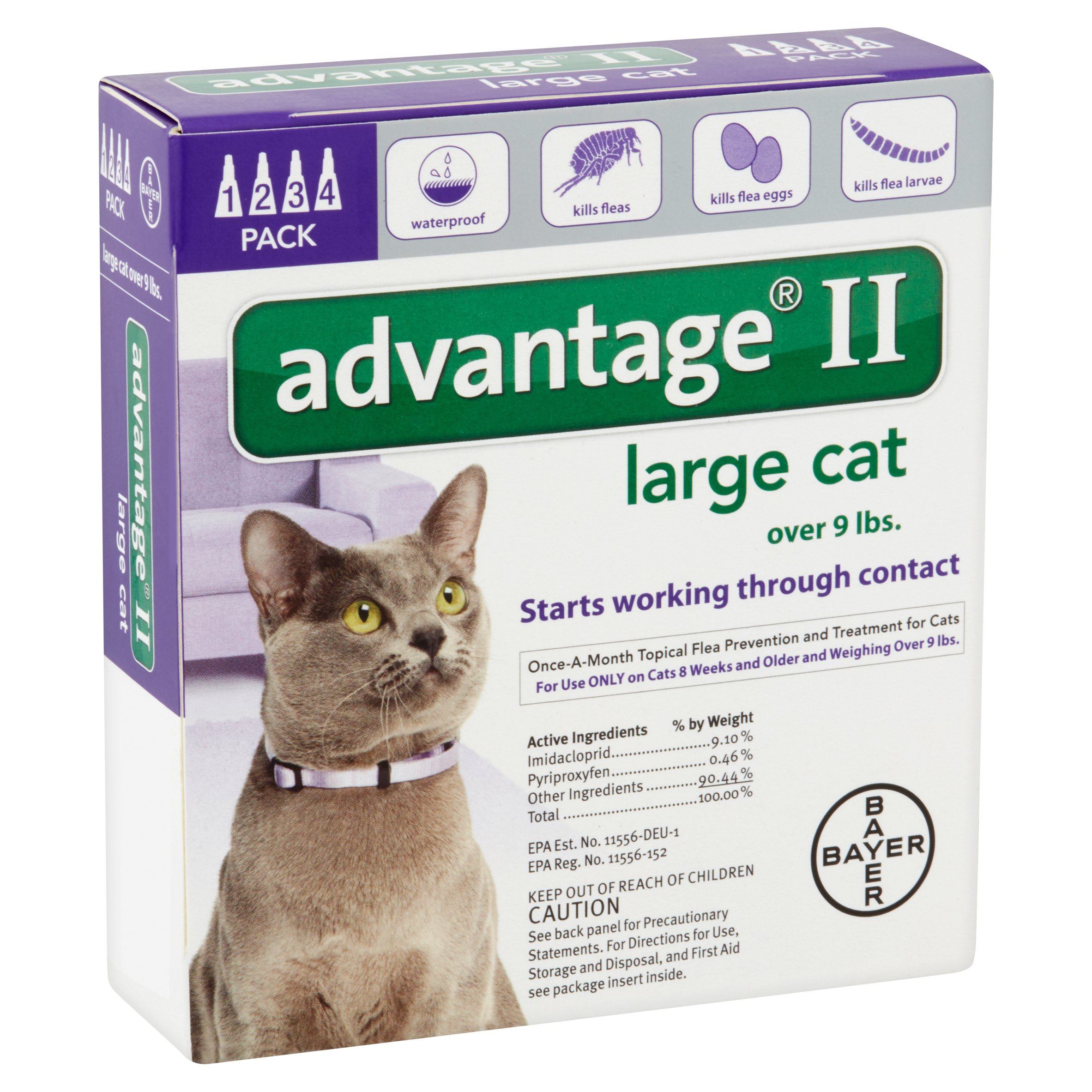 Image of Advantage II Flea & Tick Treatment for Large Cats, 4 Doses