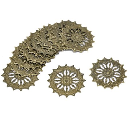 Components Focal Access (48 Antique Brass Filigree Flower Focal Components 43mm Jewelry Wrapping Findings )