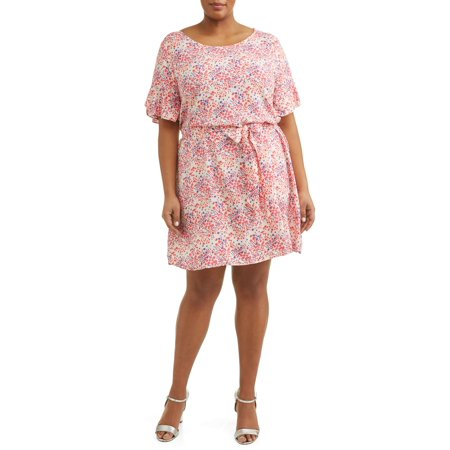 Print Tie Waist Dress - Women's Plus Size Short Sleeve Woven Tie Waist Dress with Ruffle Sleeve