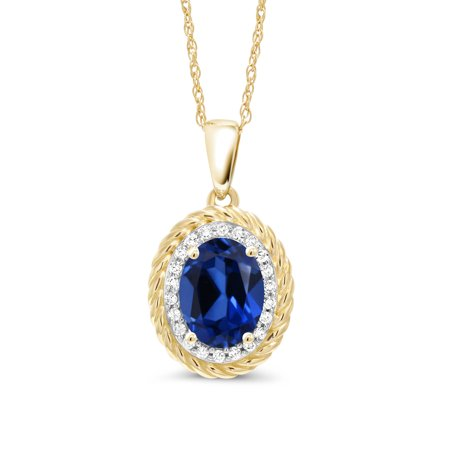 1.75 Ct Oval Blue Simulated Sapphire White Diamond 14K Yellow Gold Pendant ()