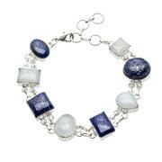 Sitara Collections Sitara Handmade Silverplated Multi-Gemstone Bracelet (India)