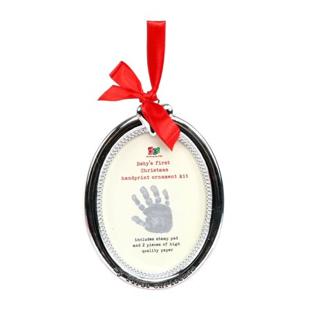 Baby Handprint First Christmas Holiday Ornament Frame DIY Stamp Kit Resin - Handprint Santa Ornament