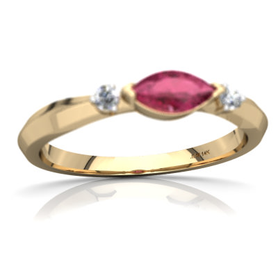 Pink Tourmaline Art Deco Ring in 14K Yellow Gold by
