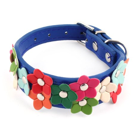 Pet Faux Leather Flower Shaped Ornament Dog Adjustable Belt Collar Dark Blue XS