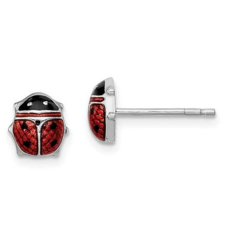Roy Rose Jewelry Sterling Silver Enameled Lady Bug Post Earrings Silver Enamel Earrings