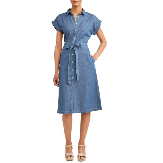 6260be4bc30 Women s Belted Midi Shirt Dress with Pocket - Walmart.com