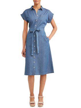 0c1db434117 Product Image Women s Belted Midi Shirt Dress with Pocket