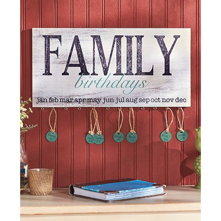TNS STORE Family Birthday Reminder Calendar Plaque Sign Wall Home Decor  Wooden w/24 Tags