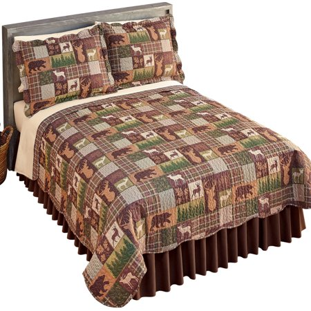 Bear, Deer, Moose Silhouette Reversible Patchwork Quilt - Rustic Cabin Style Bedroom Accent, King, Green (Bear Moose Deer)