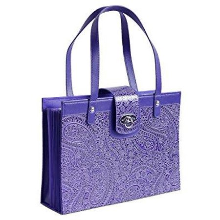 Embossed Fashion Tote - fashion embossed paisley flower file organizer tote with classy purple faux leather