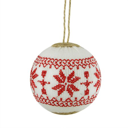 """4"""" Alpine Chic White with Red Snowflake Nordic Design Christmas Ball Ornament - image 1 of 1"""