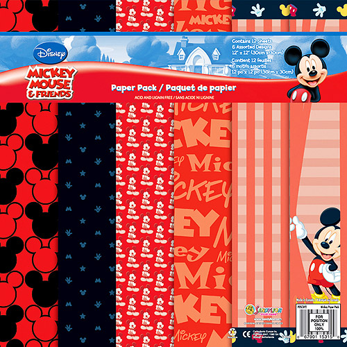"Disney Paper Pack 12"" x 12"" 12 Sheets, Mickey"