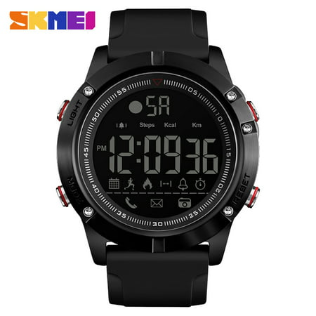 - SKMEI 1425 Smart Watch Analog Digital Pedometer Calorie Fitness Tracker Watch Fashion Casual Sports Wristwatch 3ATM Waterproof Backlight BT Multifunctional Men Watches for Android and iOS