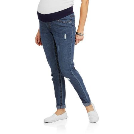 29138f37d0848 Planet Motherhood Maternity Demi Panel Distressed Skinny Boyfriend Jeans -  Walmart.com