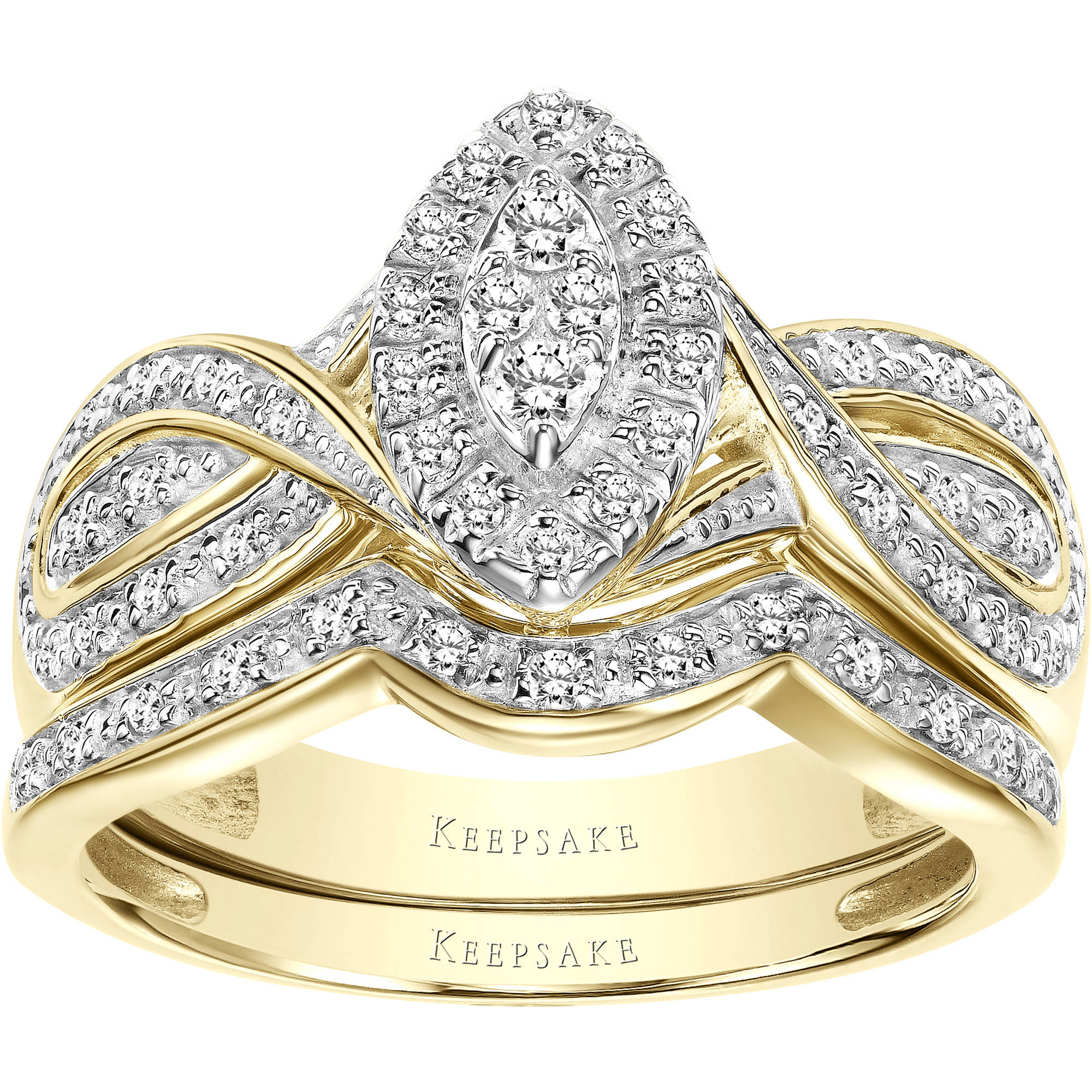 Keepsake Commitment 1/3 Carat T.W. Certified Diamond 10kt Yellow Gold Bridal Set