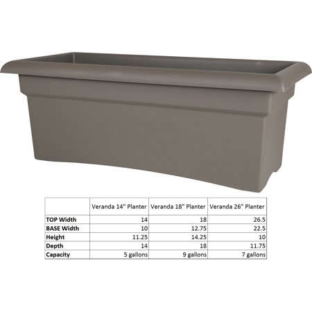 Bloem Veranda Window Deck Box Planter 26 x 11 Peppercorn