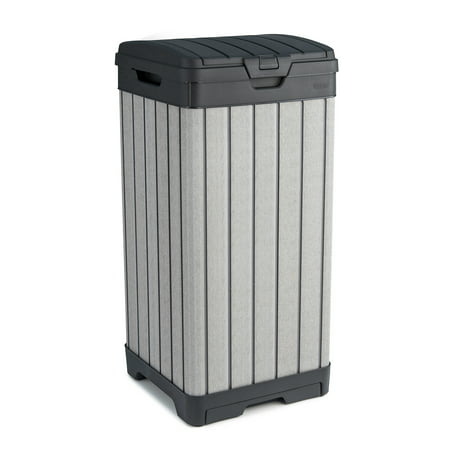 Image of Keter Rockford Duotech Outdoor Trashcan, Gray