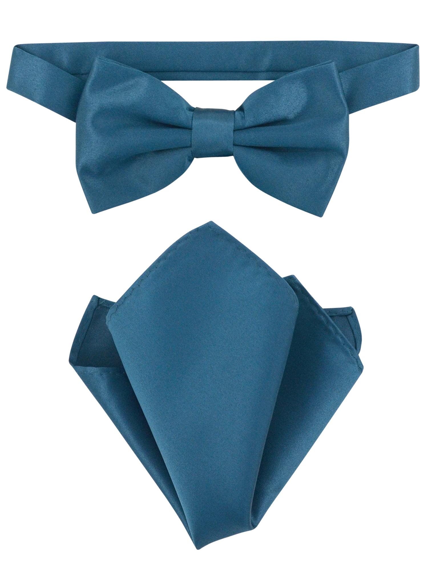 Men/'s Layer Diamond Shape Pre-tied Bow Tie /& Hankie Blue White Black