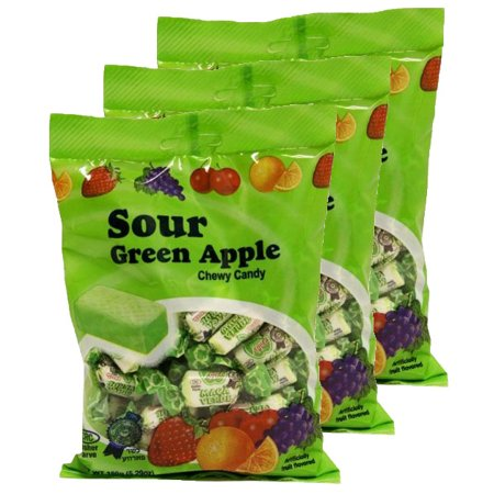 Sour Green Apple Kosher Chew Candy - Small (Pack of 3)