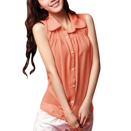 (Women's Sheer Chiffon Button Up Shirt With Ruched Front)
