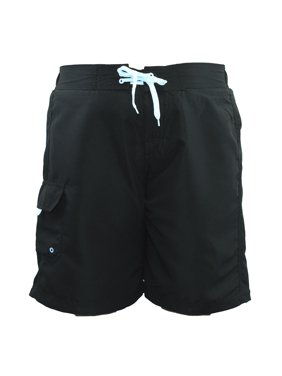 Women's Plus Size Solid Board Shorts Swimsuit (FB007P) - Black - 3X