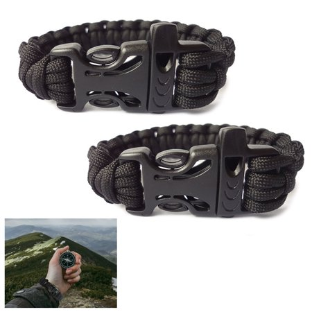2X Tactical Survival Bracelets Outdoor Paracord Whistle Emergency Gear Camp Rope - Para Cord Bracelets