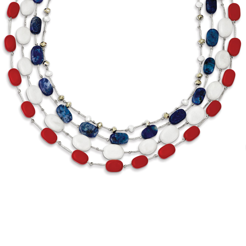 Sterling Silver Red Coral Multi Crystal White Jade Lapis 2inch Ext. Necklace 16 Inch by