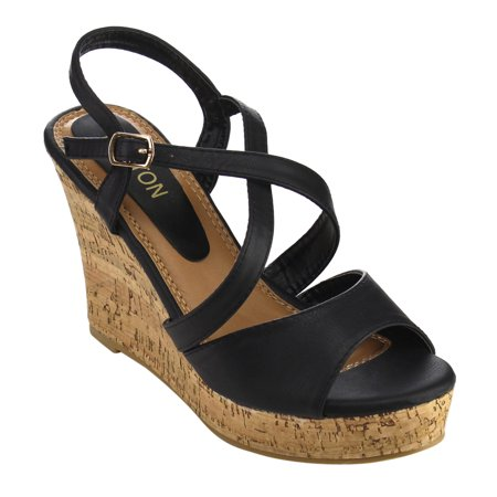 b1be05a2cb61 Beston EA49 Women s Strappy Slingback Platform Wedge Sandals Run ...