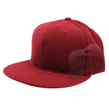Enimay Baseball Hats Caps Flat Bill Solid Color No Logo (MANY COLORS SIZES  AVAILABLE) Maroon 7 1 2 dd21cc96b28