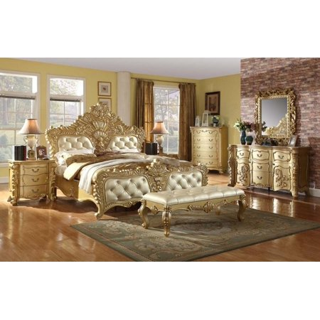 Meridian Zelda King Size Bedroom Set 7pcs in Rich Gold Traditional ...