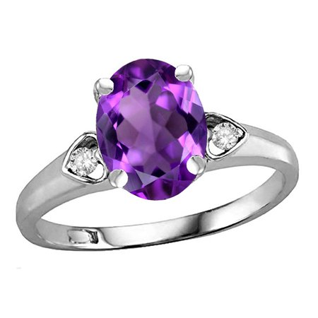 Star K Oval 9x7 Genuine Amethyst Three 3 Stone Heart Engagement Promise Wedding Ring